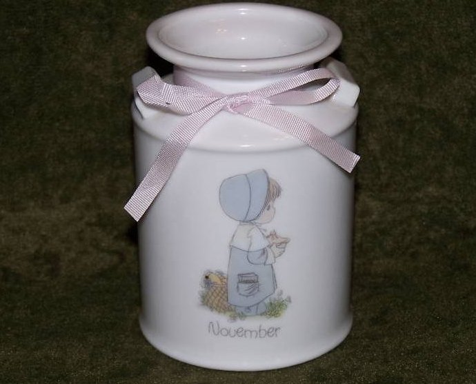 Precious Moments November Milk Can Vase Pencil Cup