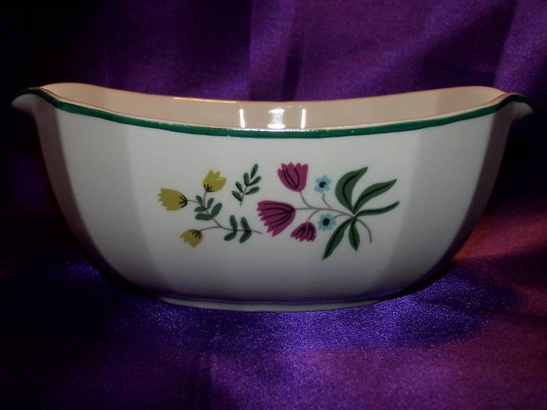 Image 2 of Harker Ware Harkerware Art Pottery Bowl with Flowers, USA