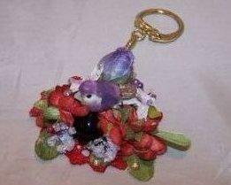 Keychain Red Hat w Purple Bird, Flowers, Rhinestones