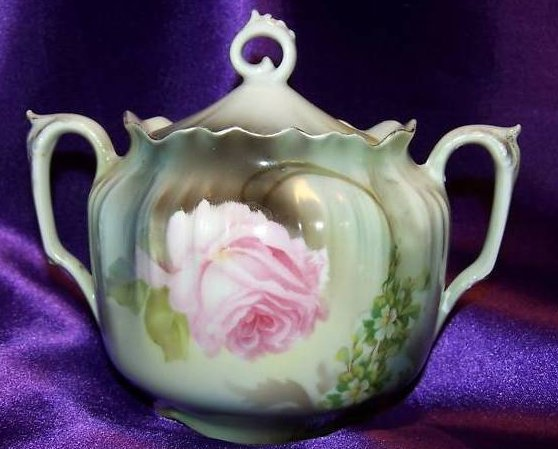 German Double Handled Sugar Bowl w Rose, Flowers