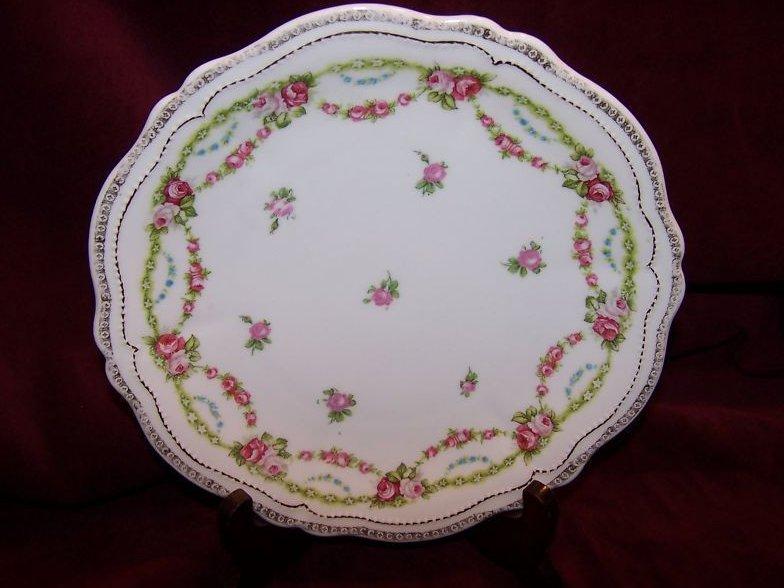 O & EG Royal Austria Plate w Gold, Roses, Flowers