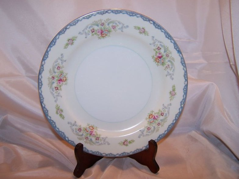 Floral and Blue Lace Mikado China Dinner Plate, Japan