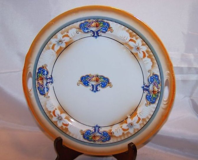 Orange Edge Plate with Pedestal Fruit Bowls, Bavaria