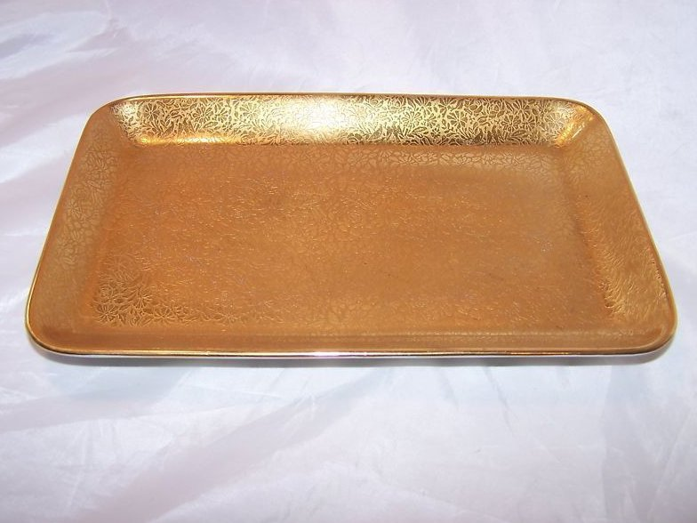 Wheeling Decorating Co Gold Birds and Flowers Tray