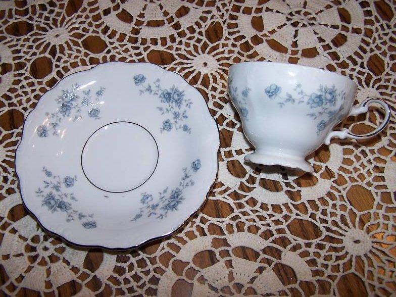 Johann Haviland Tea Cup, Saucer, Rose and Vine, Rough Rim
