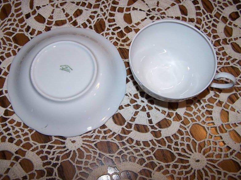 Image 4 of  Johann Haviland Bavaria, Rose Saucer Teacup, Paint Flaw