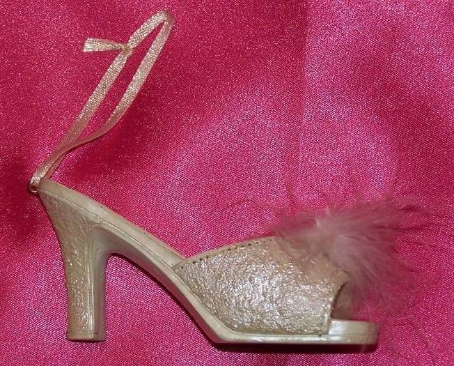 White Feather Miniature Shoe, Decorative, New