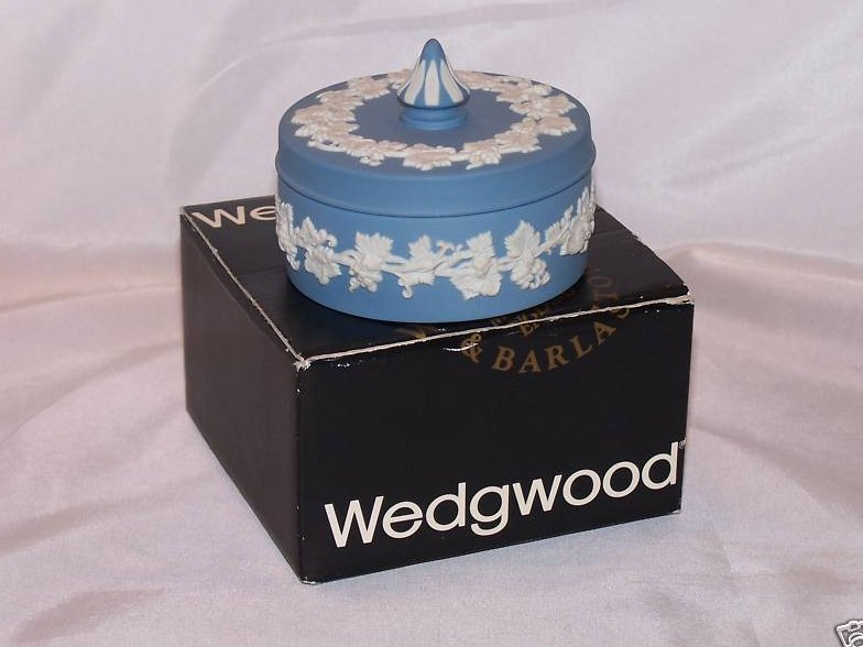 Image 0 of Wedgwood Blue and White Jasperware Covered Dish