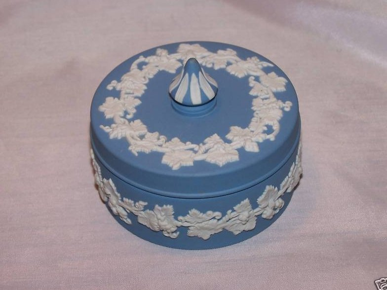Image 1 of Wedgwood Blue and White Jasperware Covered Dish