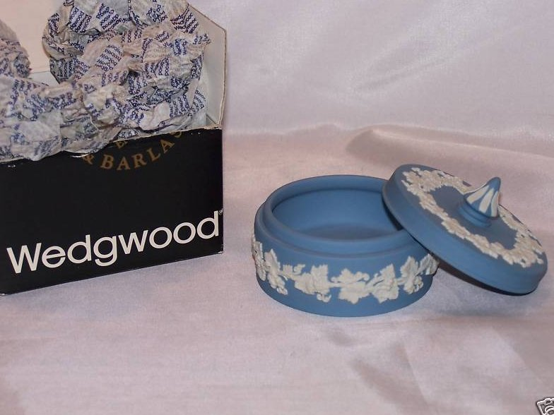 Image 3 of Wedgwood Blue and White Jasperware Covered Dish