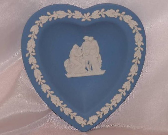 Image 0 of  Wedgwood Heart Dish Blue and White Jasperware, 1955