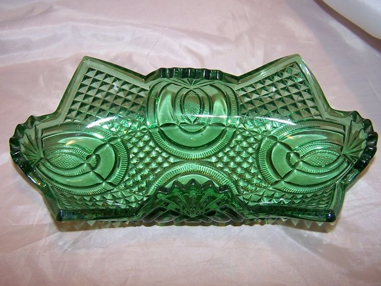 Vintage English Hobnail Green Folded Glass Bowl, Jubilee McKee