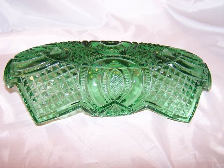 Image 1 of Vintage English Hobnail Green Folded Glass Bowl, Jubilee McKee
