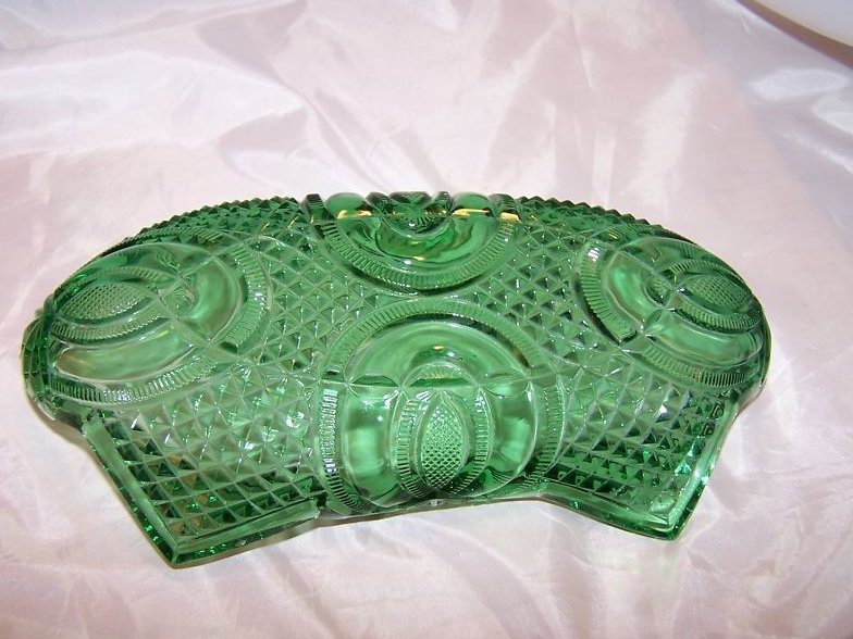 Image 3 of Vintage English Hobnail Green Folded Glass Bowl, Jubilee McKee