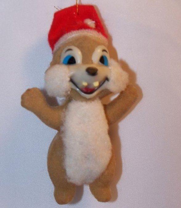 Christmas Dale Chipmunk Ornament, Vntg Flocked Disney
