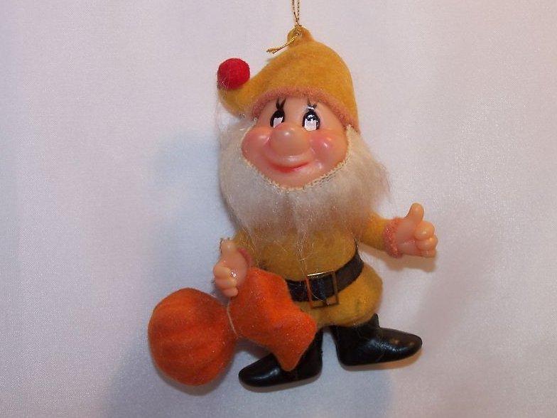Vintage Flocked Santa Helper Elf Christmas Ornament