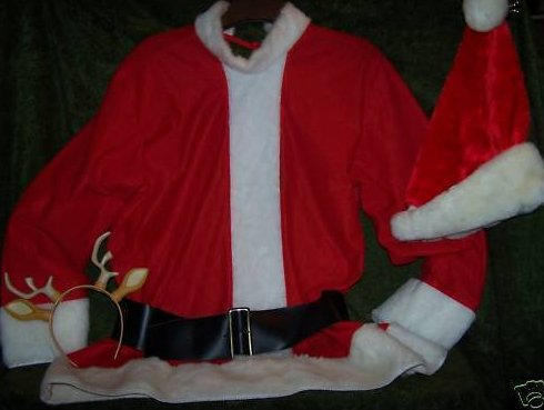 Santa Costume w Shirt, Belt, Hat, Bonus