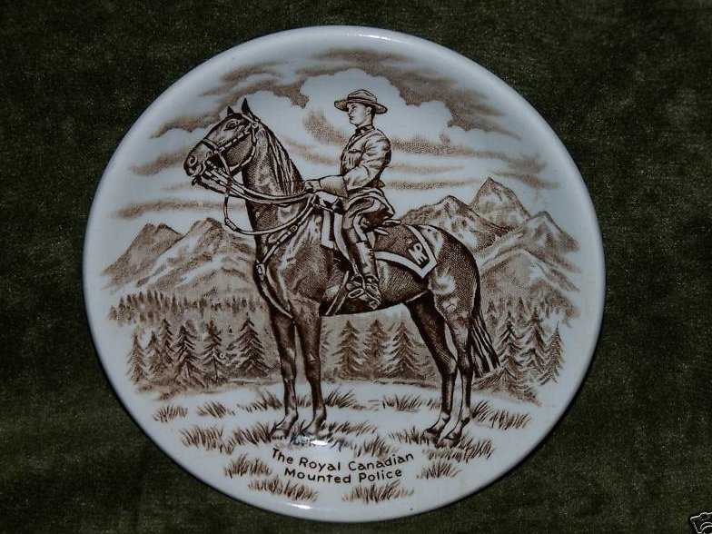 Canadian Mounted Police Officer, Horse Plate, Wood and Sons