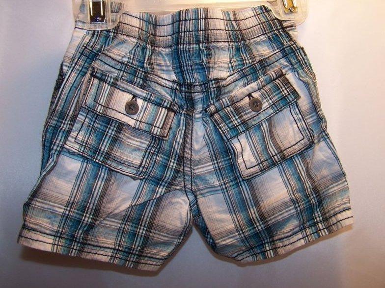 Image 1 of New Sz 0-3 MO Months Blue Plaid Shorts