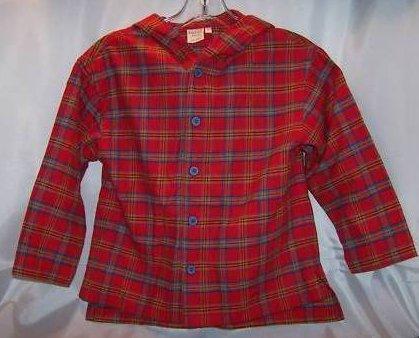 New Garnet Hill Plaid Flannel Boys LS Shirt, Hood, SZ 6