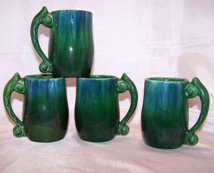 Haeger Green and Blue Drip Glaze Coffee Cups, 4 Cups