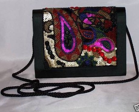 Mint Paisley Beaded Evening Purse Clutch Bag Handbag