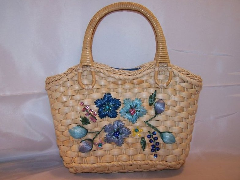 Lined Woven Wicker Straw Purse Bag w Flowers, Sequins