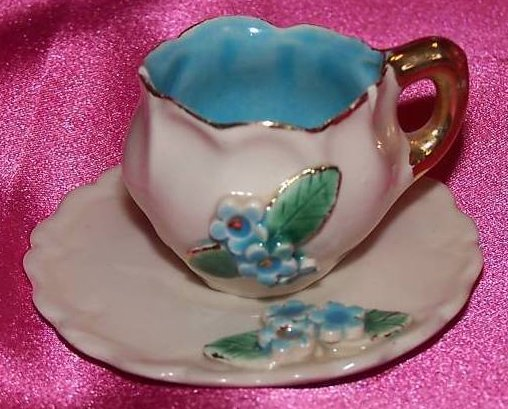 Vintage Miniature Cup Saucer Blue White Gold Flowers