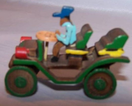 Miniature Handmade Wooden Car, Driver, Vintage