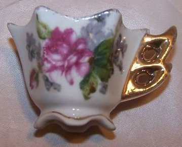 Miniature Floral Print Teacup Cup, Double Loop Handle