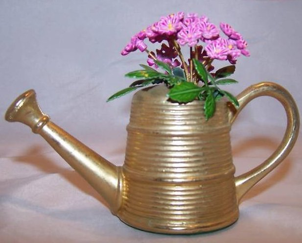 Miniature Brass Watering Can w Purple Flowers