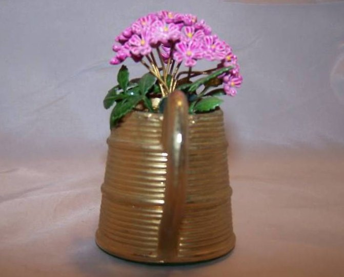 Image 1 of Miniature Brass Watering Can w Purple Flowers