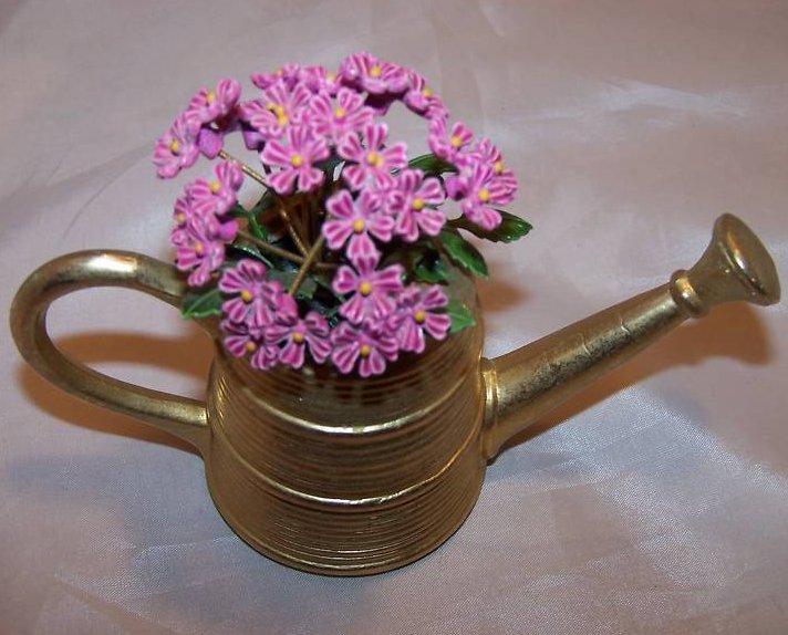 Image 2 of Miniature Brass Watering Can w Purple Flowers