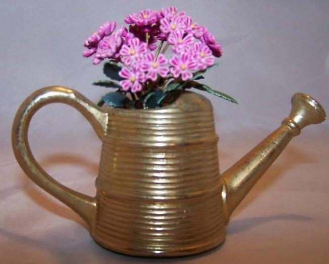 Image 3 of Miniature Brass Watering Can w Purple Flowers