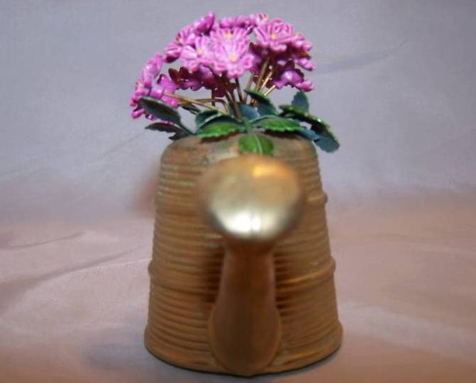 Image 4 of Miniature Brass Watering Can w Purple Flowers