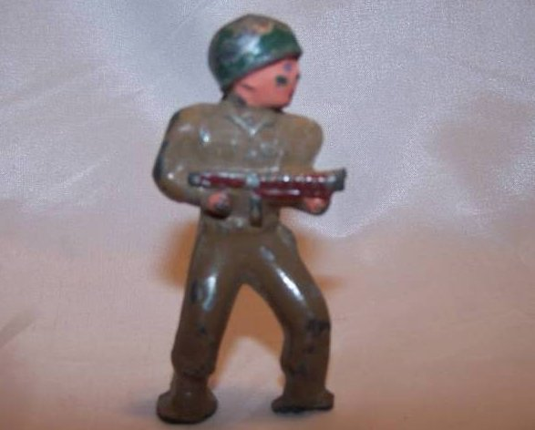 Barclay Metal Soldier with Gun, Helmet, Broken Foot