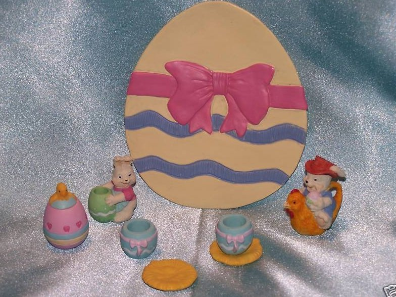 Easter Bunny Chick Egg Tea Set, Miniature, New