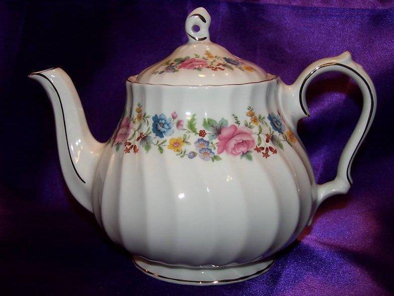 Image 2 of Sadler Floral Porcelain Teapot Tea Pot, Gold Trim