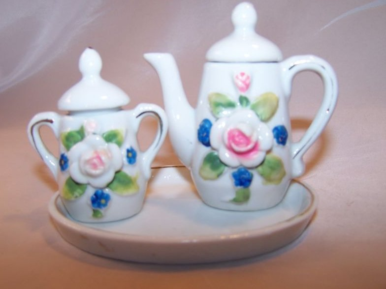 Miniature Tea Set with Roses, Forget-Me-Nots, Japan