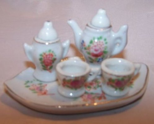 Image 1 of Occupied Japan Miniature Floral Tea Set w Tray, Box