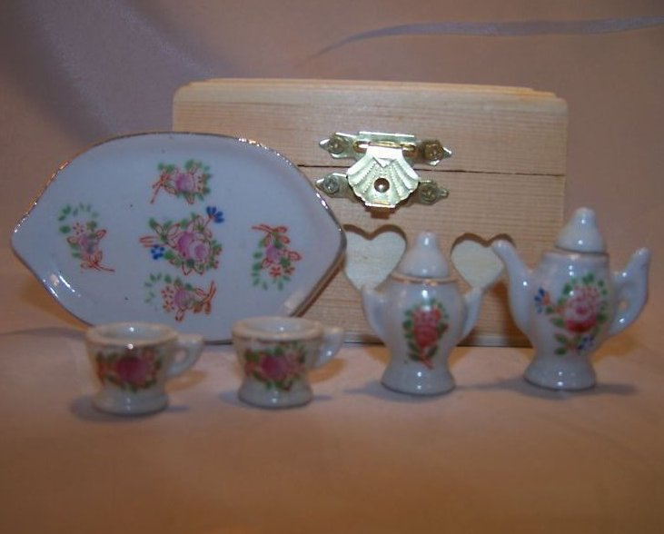 Image 2 of Occupied Japan Miniature Floral Tea Set w Tray, Box