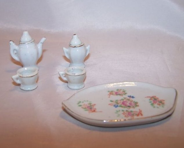 Image 3 of Occupied Japan Miniature Floral Tea Set w Tray, Box
