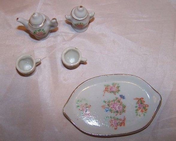 Image 4 of Occupied Japan Miniature Floral Tea Set w Tray, Box