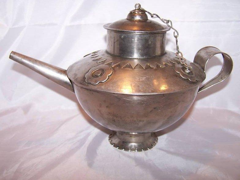 Metal Teapot Tea Pot w Decorative Metalwork