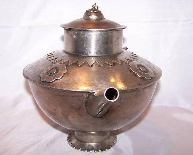 Image 1 of Metal Teapot Tea Pot w Decorative Metalwork
