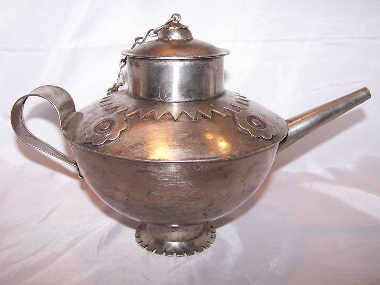 Image 2 of Metal Teapot Tea Pot w Decorative Metalwork