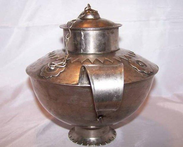 Image 3 of Metal Teapot Tea Pot w Decorative Metalwork