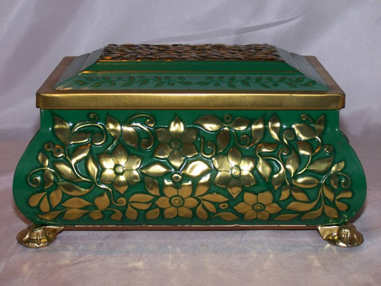 Fricke and Nacke Footed Tin, Green with Gold Raised Flowers