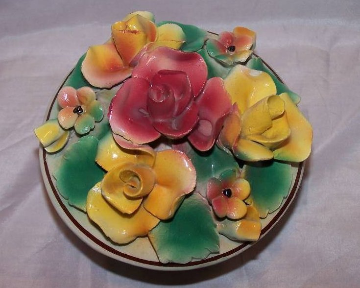 Image 1 of Hand Painted Sculpted Bowl w Lid, MBD Italian Pottery, Italy
