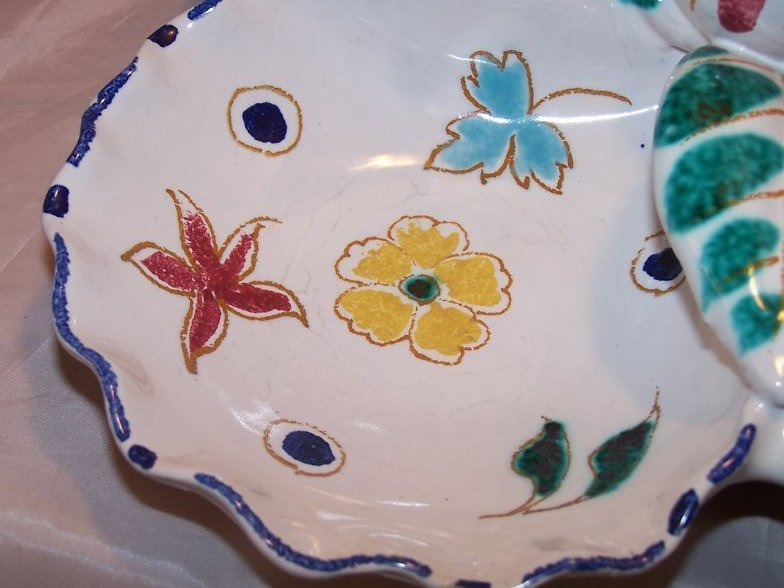 Image 1 of Hand Painted, Sculpted, Sectioned Bowl, Italy Italian Potter